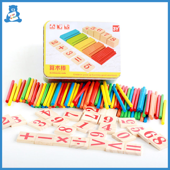 Math Learning Toys Colorful Bamboo Counting Sticks Math Teaching Aids Counting Rod Montessori Educational Wooden Toys for Kids montessori math toy wooden fruit number math game sticks educational toy puzzle learning teaching aids set child birthday gift
