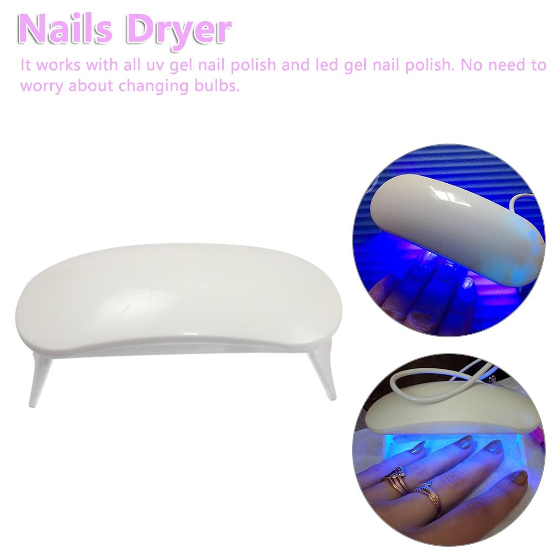 6W White Nail Dryer 3 LED Machine UV LED Lamp Portable Micro USB Cable Nail UV Gel Varnish Dryer