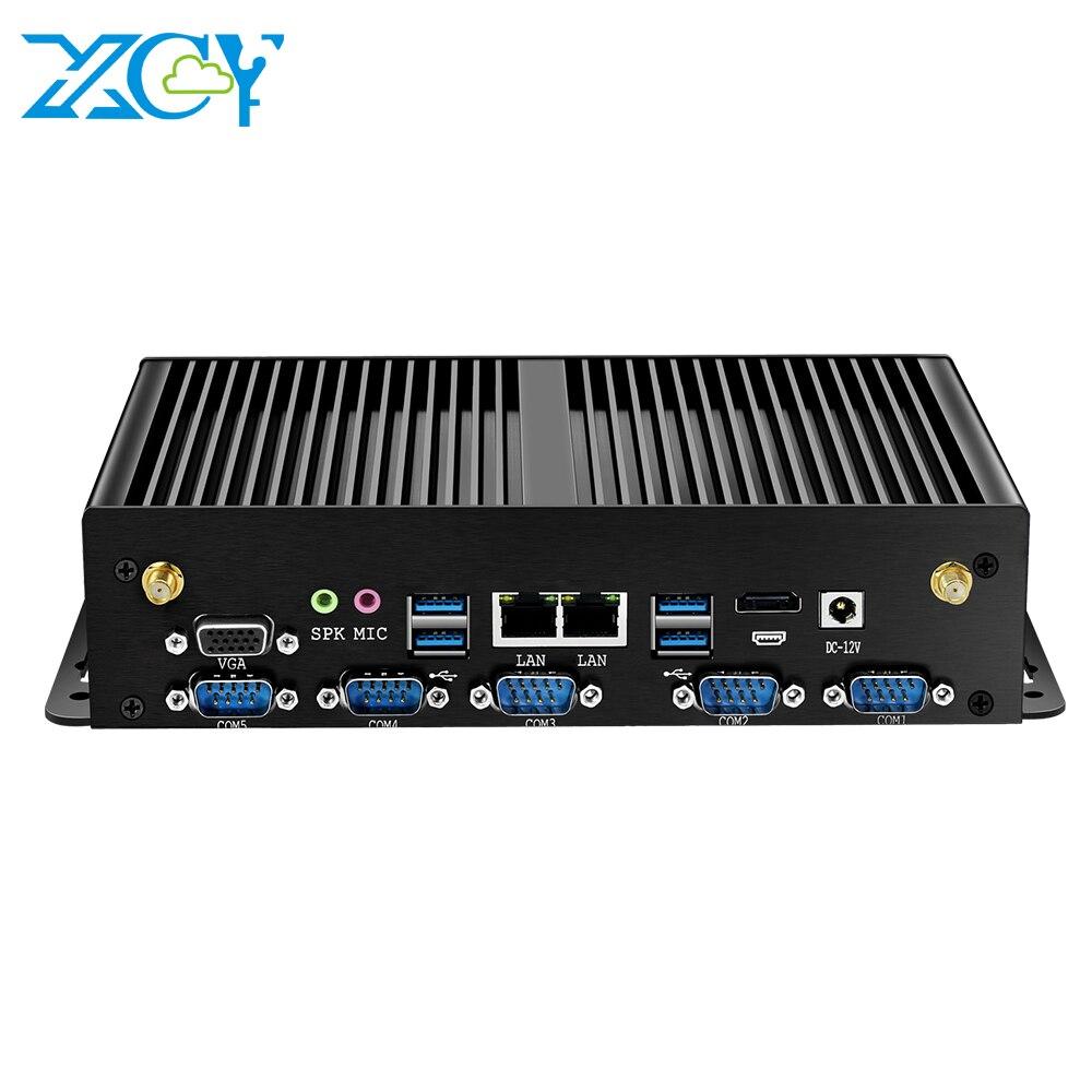 XCY Fanless Industrial Mini PC Intel Core i7 5500U 2xGigabit Ethernet RS232 RS422 RS485 HDMI VGA 8xUSB 4G LTE WiFi Windows Linux