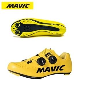 Mavic mtb ciclismo sapatos men road bike sapatos ultraleve tênis de bicicleta auto-bloqueio profissional respirável amarelo