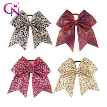 """CN 8 Pcs/lot 7"""" Leopard Cheer Bows With Elastic Hair Band For Kids Girls Large Glitter Ribbon Layers Hair Bows Hair Accessories"""
