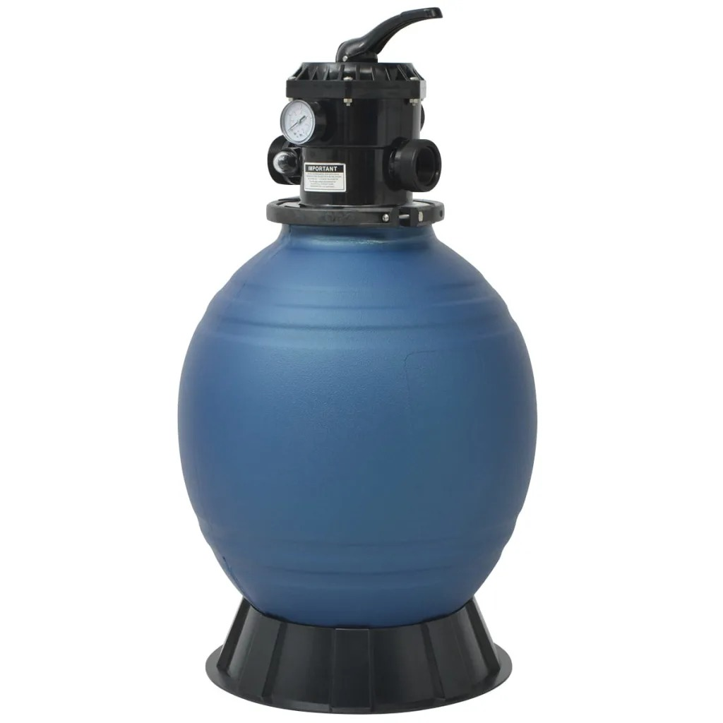 VidaXL Round Blue Pool Sand Filter 18 Inch/460 Mm Made Of High-Density Polyethylene Perfectly Suitable For Pool Pumps Of 1 HP