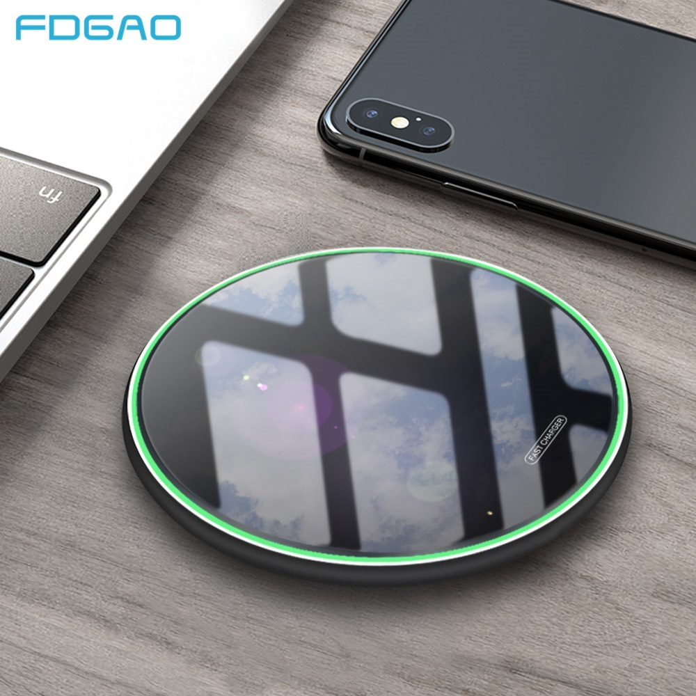 FDGAO 15W Fast Wireless Charger For Xiaomi Mi 9 Samsung S10 S9 Note 9 Iphone 11 Pro X XS MAX XR 8 Qi Induction Charging Dock Pad