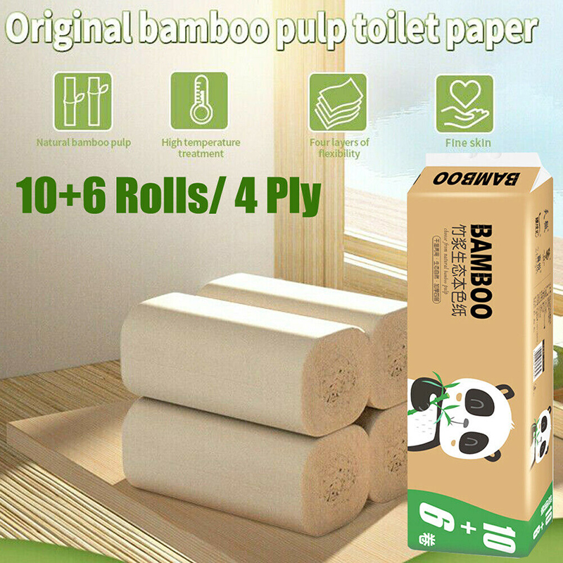 16 Rolls Toilet Paper 4 Ply Thicken Tissue Soft Household Skin-Friendly For Bathroom Home FS99