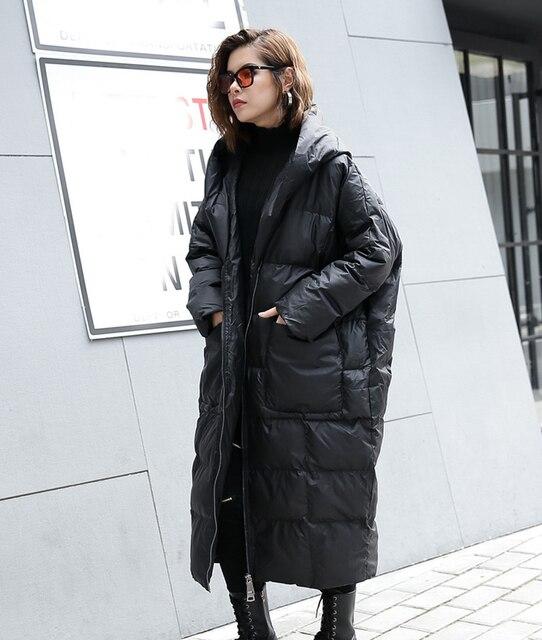 [EAM] 2020 nouveau hiver à capuche à manches longues couleur unie noir coton rembourré chaud ample grande taille veste femmes parkas mode JD12101 2