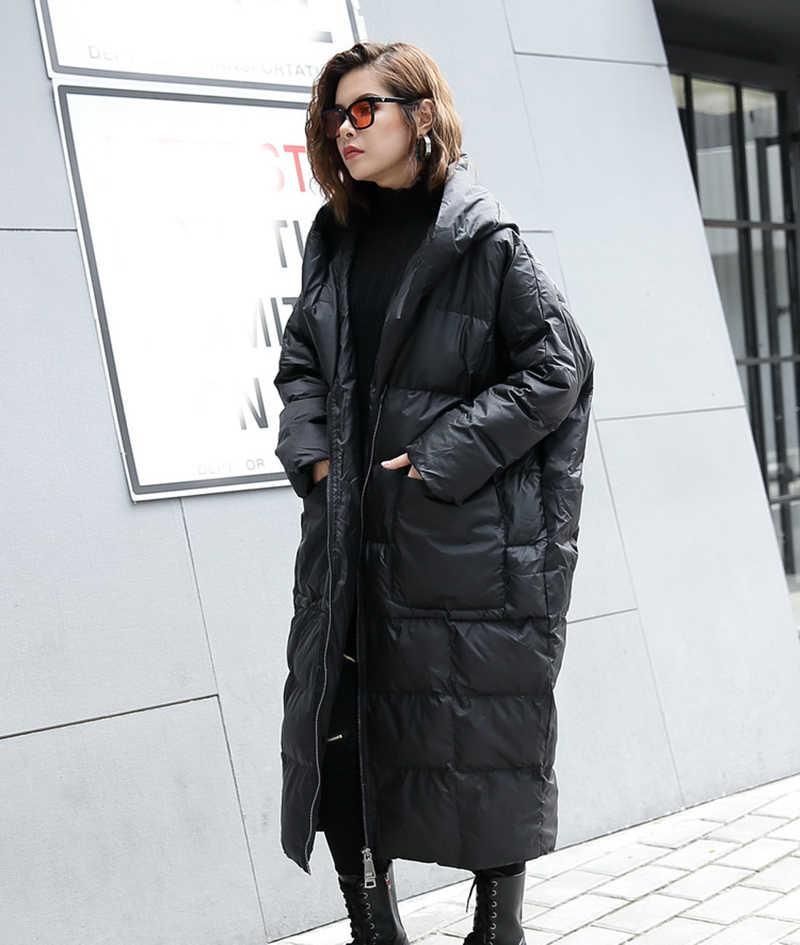 [EAM] 2020 Nuovo Inverno Con Cappuccio A Maniche Lunghe di Colore Solido Nero di Cotone imbottito Caldo Allentato Giacca di Grandi Dimensioni delle donne di Modo parka JD12101