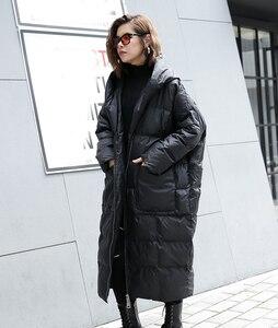 Image 2 - [EAM] 2020 חדש חורף ברדס ארוך שרוול מוצק צבע שחור כותנה מרופדת חם Loose גדול גודל מעיל נשים מעיילי אופנה JD12101