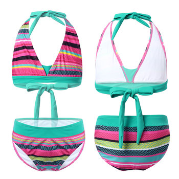 Stroje kąpielowe dla dzieci dla dziewczynek nadruk w paski Halter trójkątne Bikini Set dwuczęściowe kostiumy kąpielowe kostiumy kąpielowe stroje kąpielowe dla dzieci dla dziewczynki tanie i dobre opinie Poliester CN (pochodzenie) Dziewczyny Pływać Pasuje prawda na wymiar weź swój normalny rozmiar Dwa Kawałki