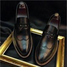 Мужская деловая обувь высокого качества; обувь с перфорацией типа «броги»; мужская повседневная кожаная обувь с бахромой в британском стиле; OO-65-оксфорды в деловом стиле