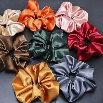 Fashion Solid Silk Satins Hair Scrunchie Pack Women Girls Elastic Hairbands Accessories Gumki Do Wlosow - discount item  10% OFF Headwear