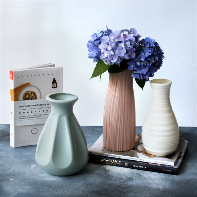 Plastic Flower Vase Nordic Style Decoration Home Vase Flower Pot Decoration Nordic Style Flower Basket White Green Pink 3