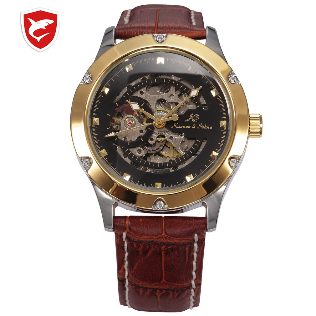 KS NAVIGATOR Series Golden Case Luxury Skeleton Transparent Case Back Men Gent Automatic Mechanical Stainless Steel Watch /KS207