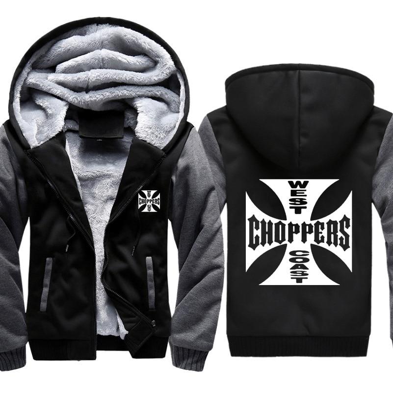 West Coast Choppers Printed Hoodies Men Sweatshirts Winter Warm Thicken Fleece Zipper Coat Plus Size Jackets Harajuku Hoody Male