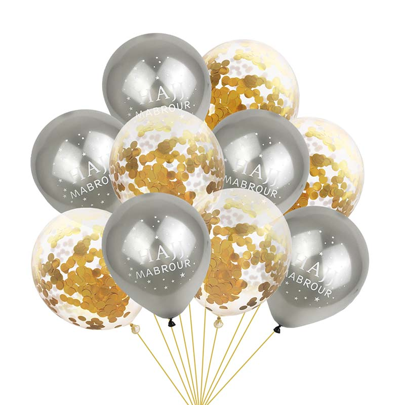 Twins 10Pcs Gold Black EID Decoration Ramadan Kareem Balloons Happy Ramadan Confetti Ballon Islamic Muslim Hajj Mubarak Decor