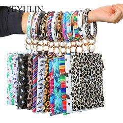 Nova moda couro do plutônio o pulseira chaveiros pendurar mudança bolsa saco do telefone borla wristlet chaveiro para meninas presente