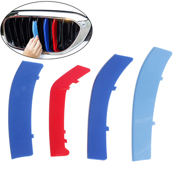 3pcs 3D Car Front Grille Trim Strips Cover Motorsport Stickers For BMW F30 F10 3 5 Series M Power Performance Acc image