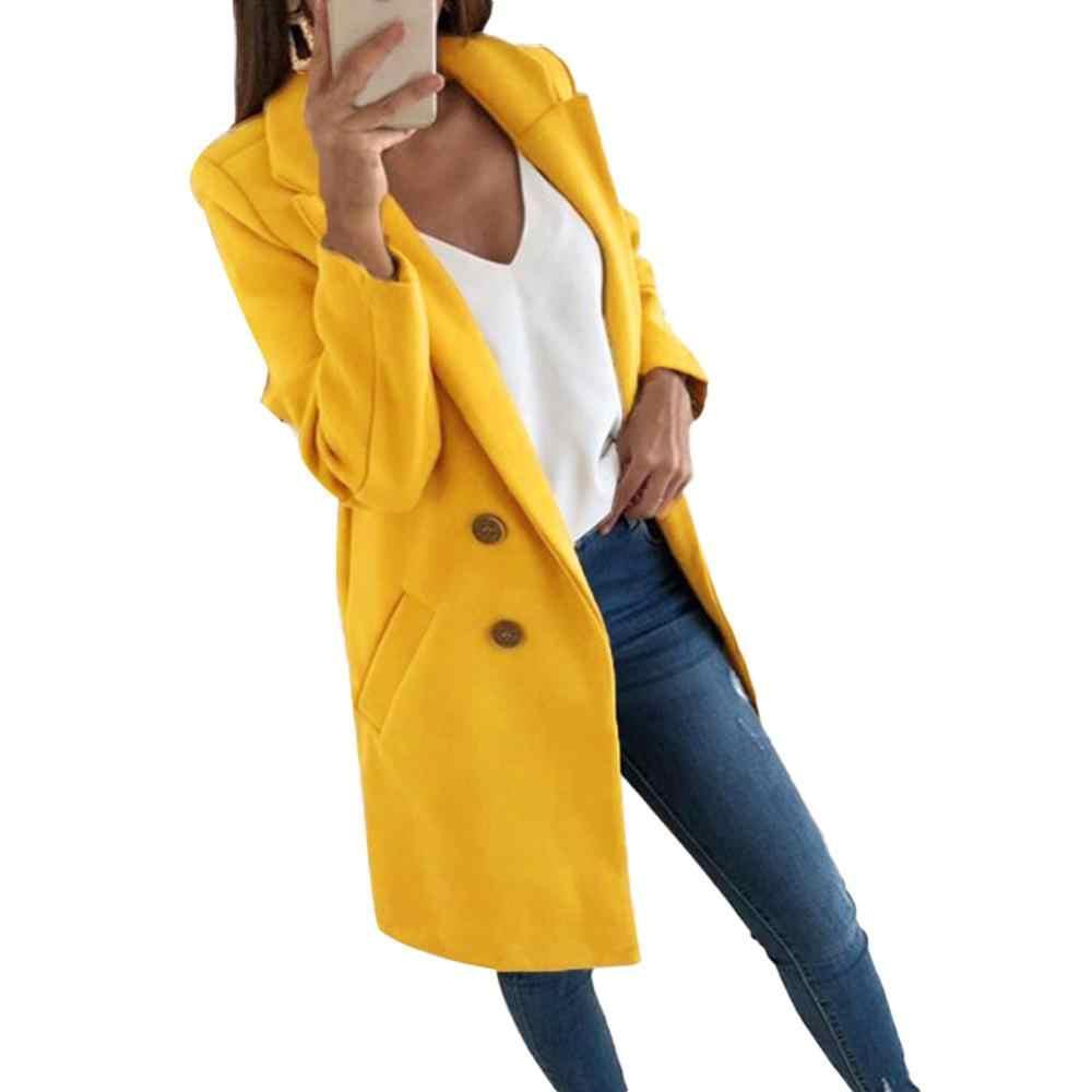 2019 الموضة حجم كبير النساء معطف الصوف الخريف سترة غير رسمية الإناث مكتب سيدة الصلبة نمط طويل بدوره إلى أسفل طوق معطف