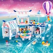 QWZ ege denizi serisi yapı taşları şehir havuzlu Villa araba kız arkadaşlar prenses prens tuğla oyuncak çocuklar için noel hediyesi