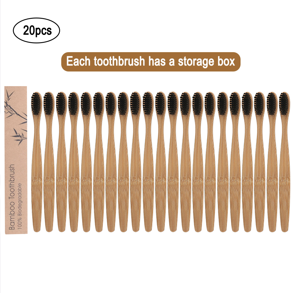 20pcs Natural Bamboo Tooth Brush Toothbrushes Eco-Friendly Soft Bristles Fiber Toothbrush Bamboo Tooth Brush Oral Care Supplies image