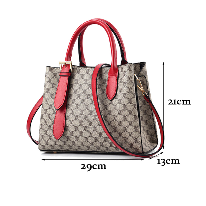 2019 New Women Leather Handbags Luxury Desinger Female Shoulder Bag Red Printing Ladies Tote Bags For Women Messenger Bolsas Sac in Top Handle Bags from Luggage Bags