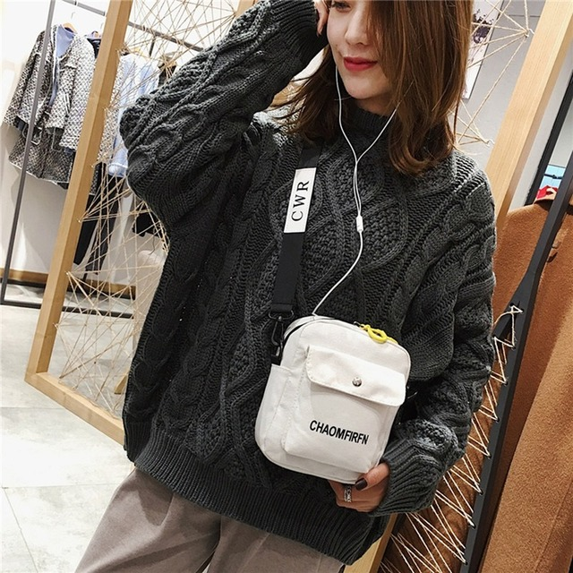 Women Shoulder Bag Fashion Pure Color Casual Tote Outdoor Bag Canvas Handbag Zipper Messenger Messenger Bags Sac Main Femme 3