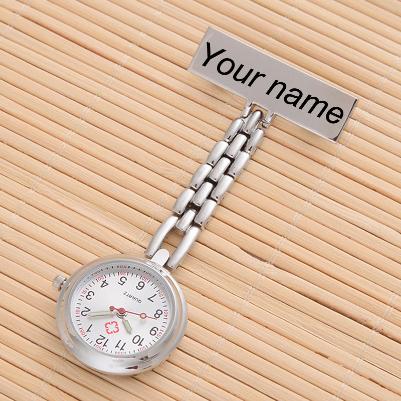 Personalized Customized FREE Engraved With Your Name TOP QUALITY Pin Brooch Stainless Steel Lapel Pocket Watch Fob Nurse Watch(China)