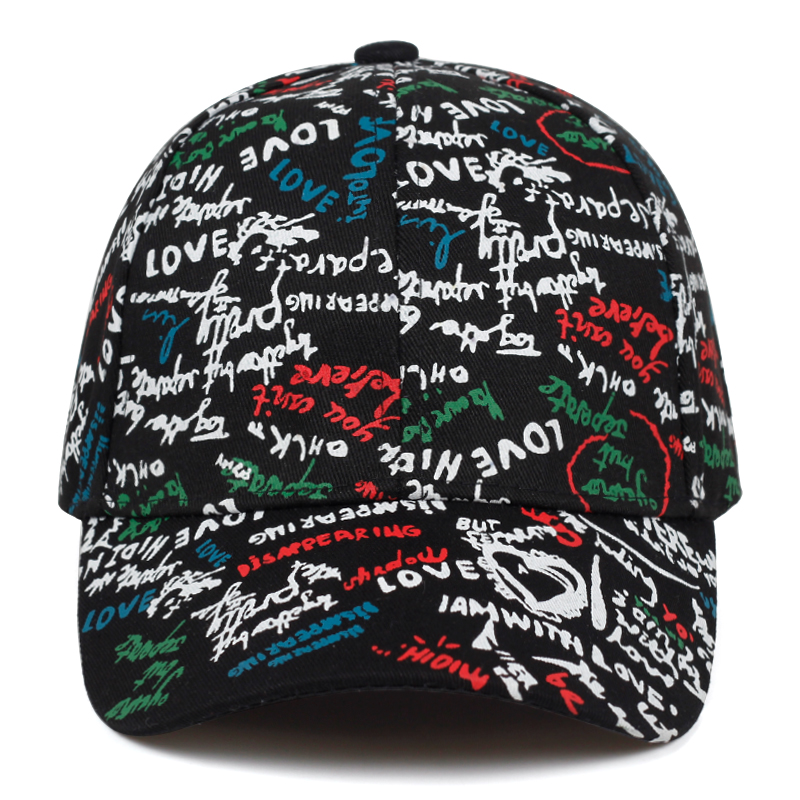 New Fashion Graffiti Baseball Cap High Quality Love Printing Dad Hat Hiphop Outdoor Leisure Cap Adjustable 100%cotton Sport Hat