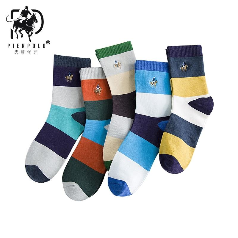 5pairs/lot PIER POLO Brand Fashion Colorful Striped Socks Men's Cotton Sox Medium Length Street Wear Cool Happy Socks Size39-44