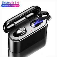 3000 mah tws 5d fones de ouvido bluetooth estéreo sem fio mini fone à prova dpower água power bank para telefones pc ios android