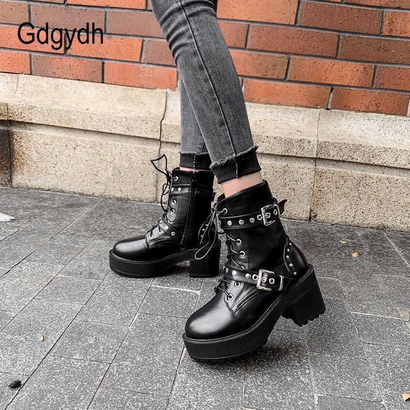 Gdgydh Sexy Klinknagel Herfst Laarzen Vrouwen Platform Laarzen Zwart Lederen Gothic Punk Stijl Combat Laarzen Voor Vrouwen Mid Hakken Comfortabele