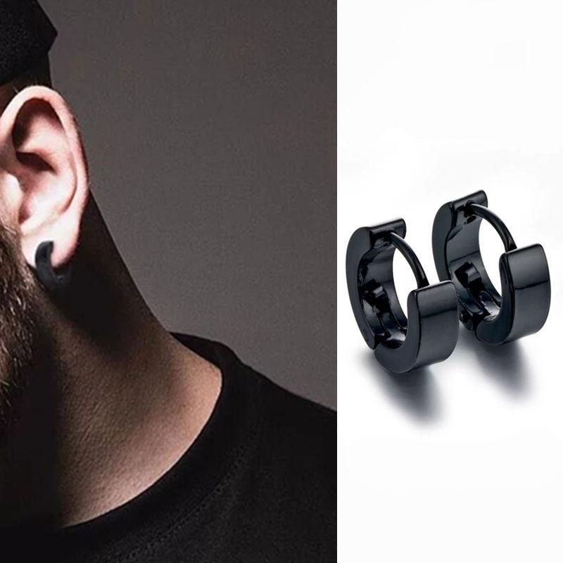 Punk Men Black Stainless Steel Hoop Piercing Round Earings Neutral Earrings For Women Men Fashion Party Jewelry Brincos Unisex