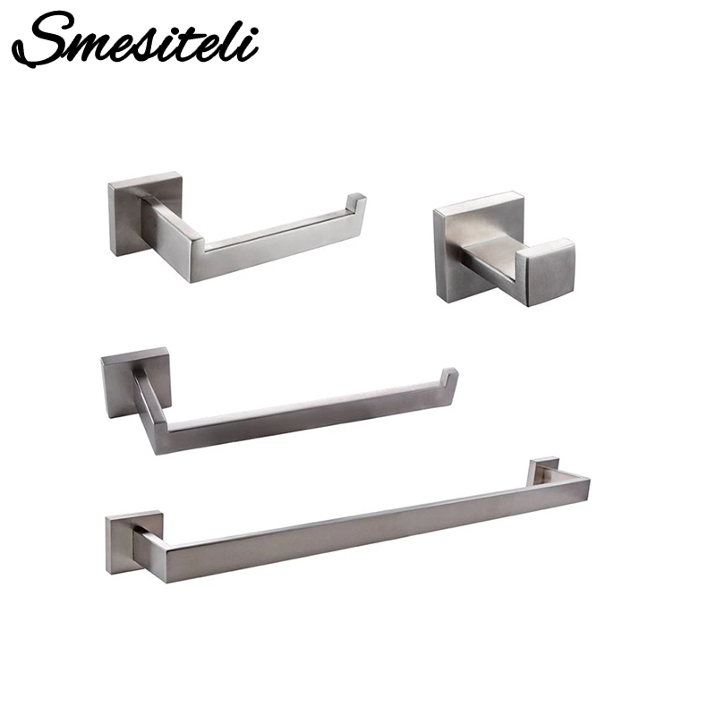 Bathroom Hardware Set Brushed Steel Robe Hook Towel Rail Bar Shelf Tissue Paper Holder Toothbrush Holder Bathroom Accessories