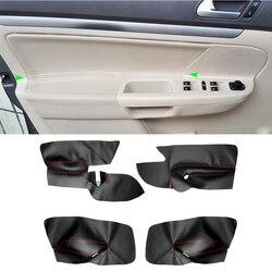 Movimentação da mão esquerda microfibra couro porta painel capa para vw golf 5 jetta 2005 - 2009 porta do carro braço painel capa adesivo guarnição
