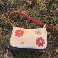 Baguette Vintage de flores para mujer, bolso de lona de Color contrastante, pequeño, para hombro