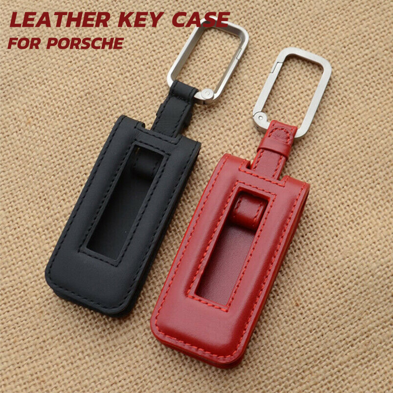 Genuine Leather Chrome Key Chain Ring Keychain With Red Stitches Fit Ferrari