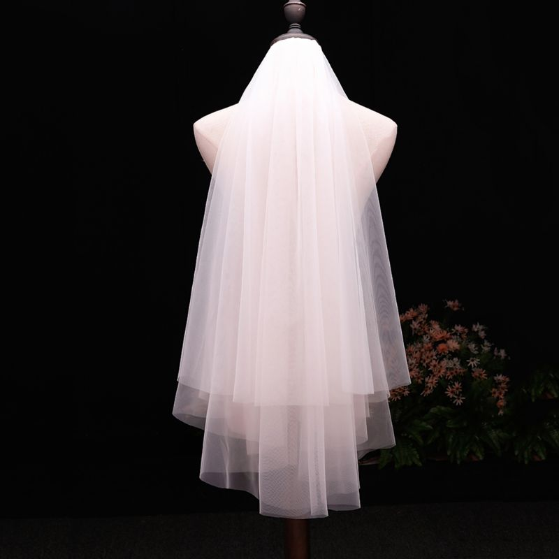 Minimalist Simple 2 Tier Layered Women Girls Short Wedding Veils Ivory White Tulle Bridal Veil Marriage Accessories With Comb