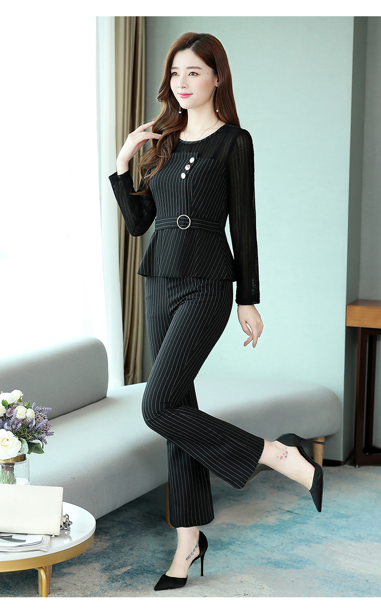 Black Striped Office Two Piece Sets Outfits Women Plus Size Long Hollow Tops And Pants Suits Elegant Korean Ol Style Sets 2020 36