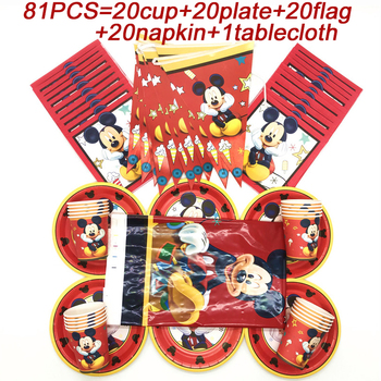mickey Disney Red Mickey Party Decorations Supplies Set Mickey Mouse Birthday Banner Flags Disposable Cup Plate Mickey Party Tablecloth