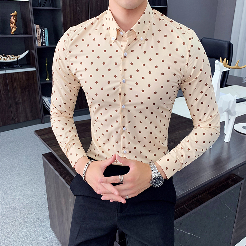 Polka Dot Casual Men Shirt Slim Fit Fashion Long Sleeve Business Dress Shirts High Quality Formal Social Shirt Camisa Masculina