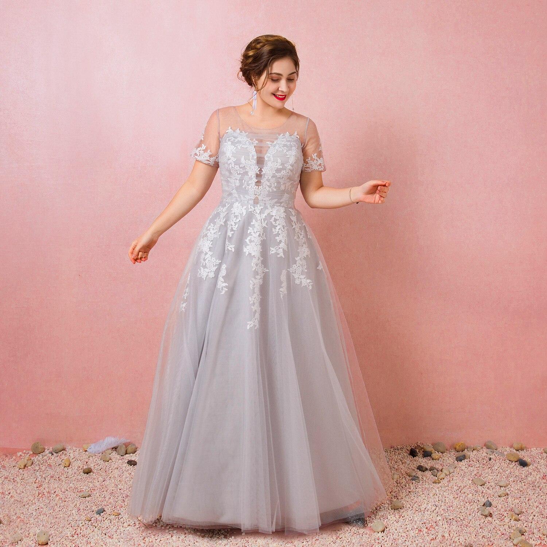 A-linie Elegante Prom Formale Abendkleid Jewel Neck Kurzarm Bodenlangen Tüll mit Appliques 2021