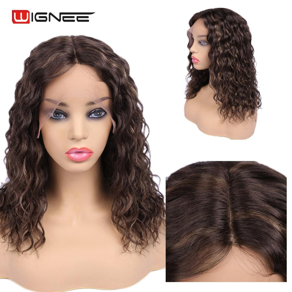 Wignee Short Curly Lace Part Human Hair Wig For Black Women Pre Plucked Hairline Mixed Brown Curly Hair Remy Brazilian Human Wig
