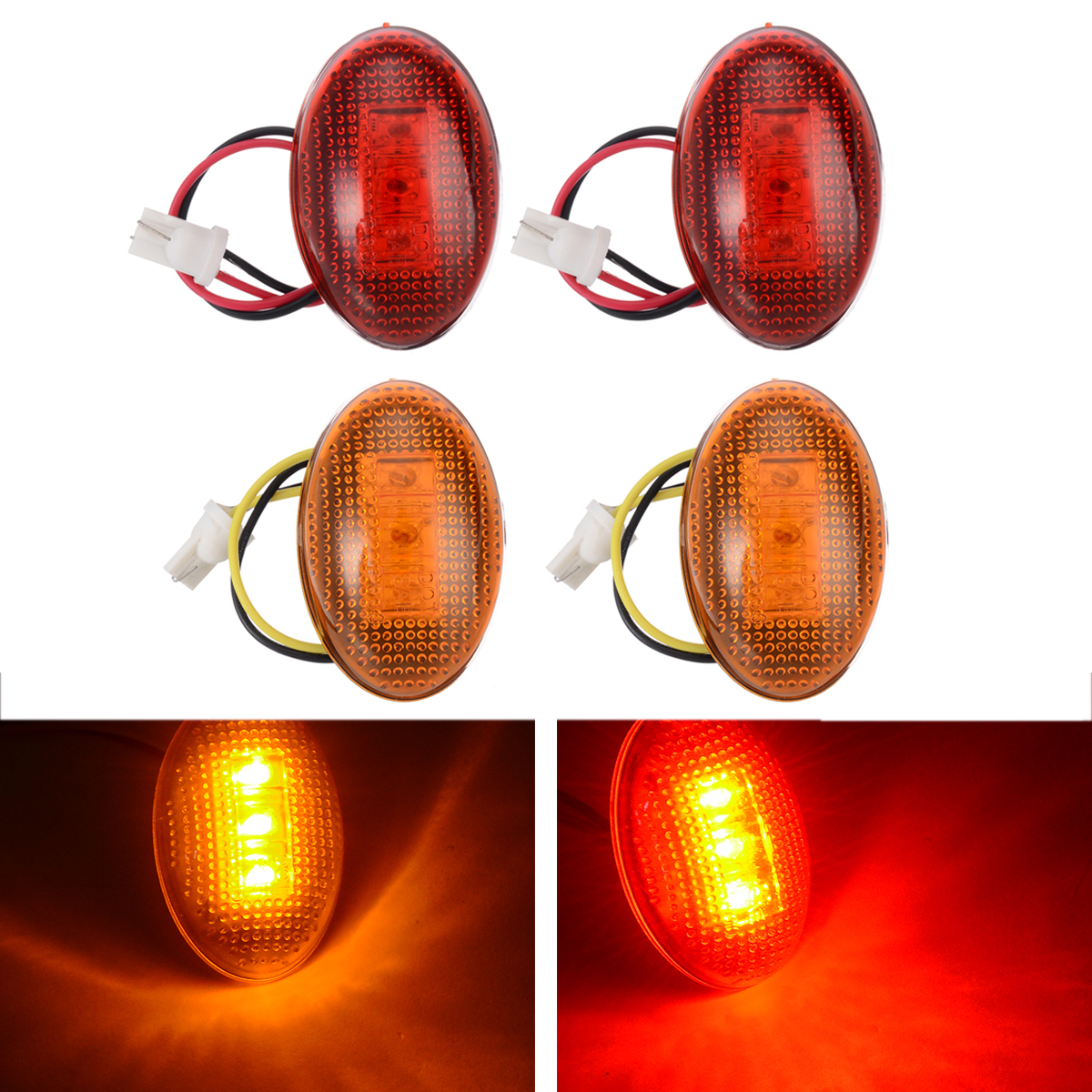 2 Pair 12V Front Rear Fender Side Marker Light 3LED Car Signal Lamp 8C3Z-15442-B Amber+Red For Ford F350 1999-2010