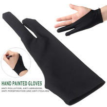 Anti-Fouling Artist Glove For Drawing Black 2 Finger Painting Digital Tablet Writing Glove For Art Students Arts Lover