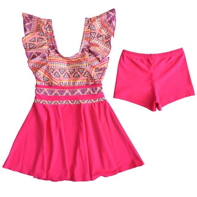Teenage girl one piece swimsuit dress bathing suit skirt swimwear for 10-16 year kids girl beach wear