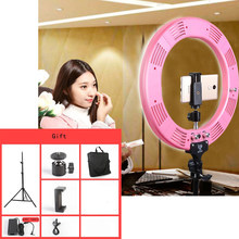 "Photo Studio 16"" 600pcs LED 3Color3200K-5600K Dimmable Photography Phone Video LED Ring Light Lamp With Tripod Stand For Camera(China)"