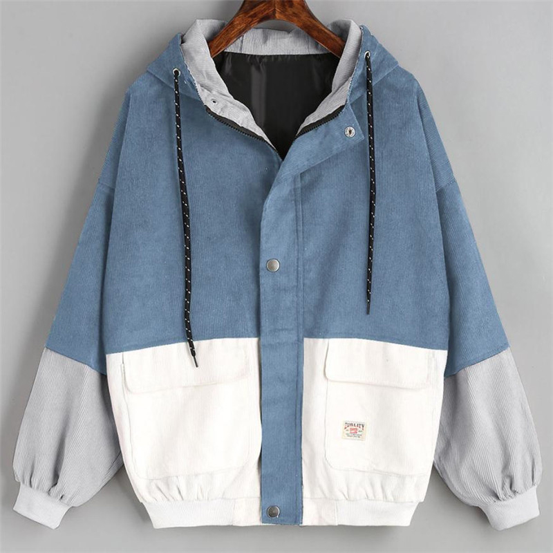 Coats Jackets Outerwear Windbreaker Oversize Patchwork Long-Sleeve Corduroy And Zipper