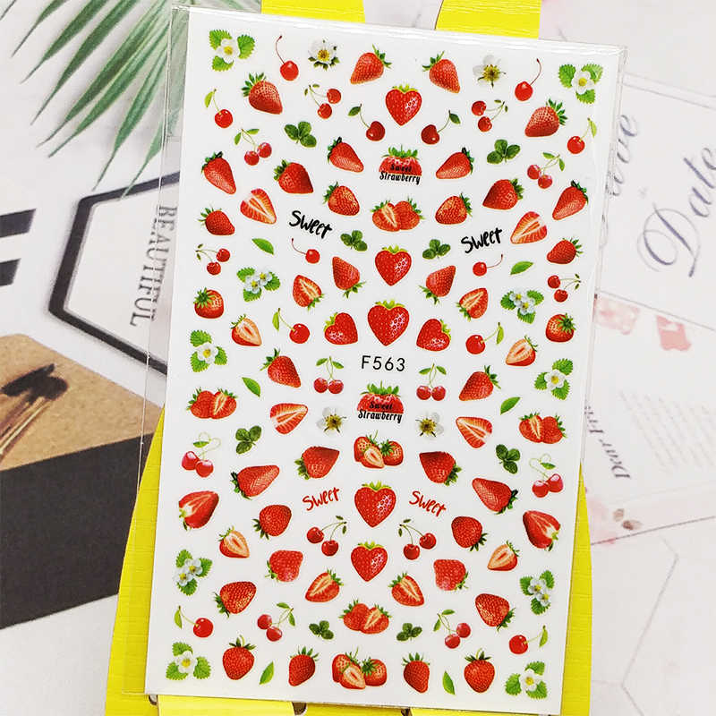 3D Nail Sticker Decals Aardbei Cherry Ontwerp Nail Art Decoraties Stickers Sliders Manicure Accessoires Nagels Decoraciones