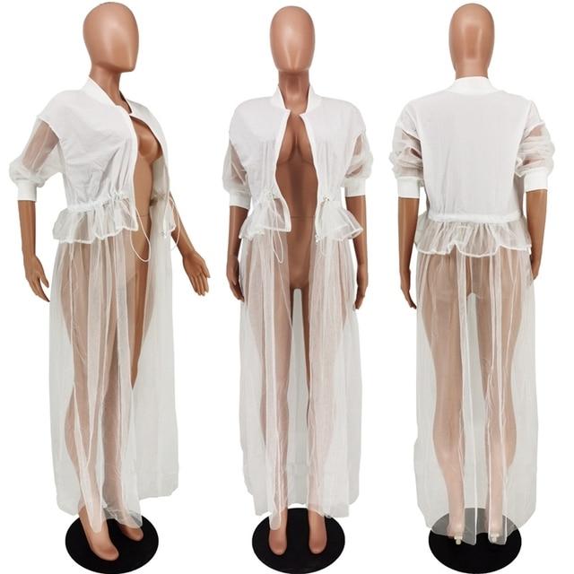 Streetwear Women Jacket Spring Autumn Korean White Mesh Patchwork Long Sleeve Coat Women Clothes Oversize Bomber Jacket Women