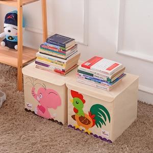 Image 1 - Nowy Cartoon haft ze wzorem zwierzęcia składany schowek myte Oxford tkaniny torba do przechowywania w szafie zabawki dla dzieci