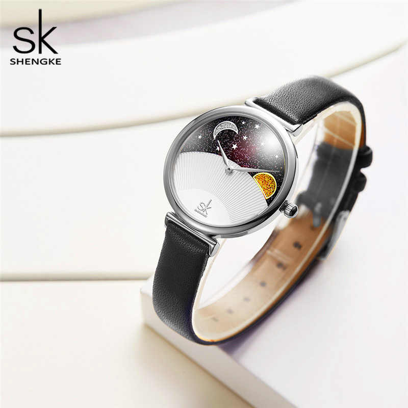 Creative Casual Women Watches SHENGKE Starry Sky Moon and Sun Unique Shell Elegant Lady Watches Waterproof Leather Girls Clock